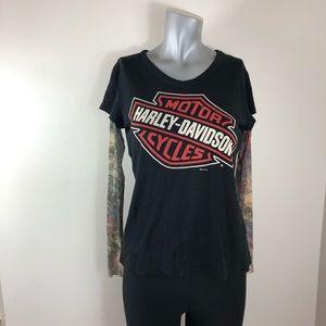 Ladies Harley Davidson Tee Sheer Tatoo Sleeves Med